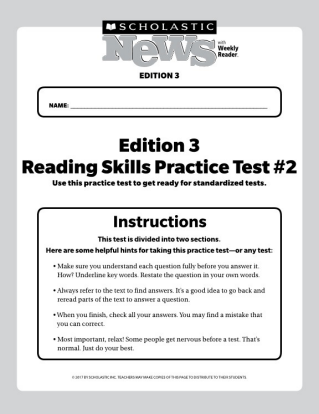 reading skills practice tests scholastic news 3