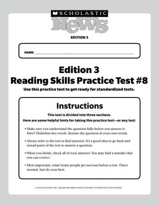 Reading Skills Practice Tests Scholastic News 3